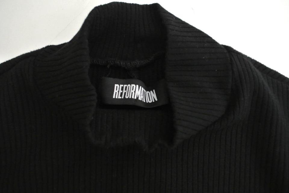 Cropped Ribbed Sweater Reformation Pullover Black Turtleneck Hxnww1qUT