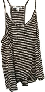 American Eagle Outfitters Summer Polyester Striped Top Black/White