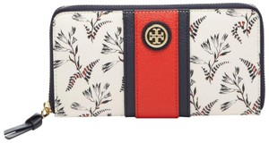 Tory Burch NEW TORY BURCH FLORAL STRIPE ZIP WALLET BAG CONTINENTAL NWT RARE