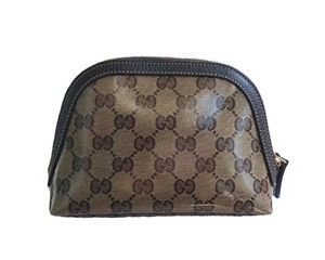 Gucci Gucci 272366 Crystal Line Coated Canvas GG Dome Cosmetic Makeup Bag