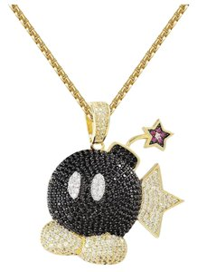 """Master Of Bling 14k Gold Finish Iced Out Mario Game Bomb Pendant Charm 24"""""""