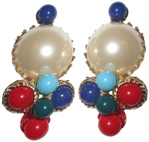 Scaasi Runway Clip Faux Pearl Cluster Statement Signed