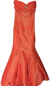 Party Time Formals Mermaid Beaded Strapless Peach Dress