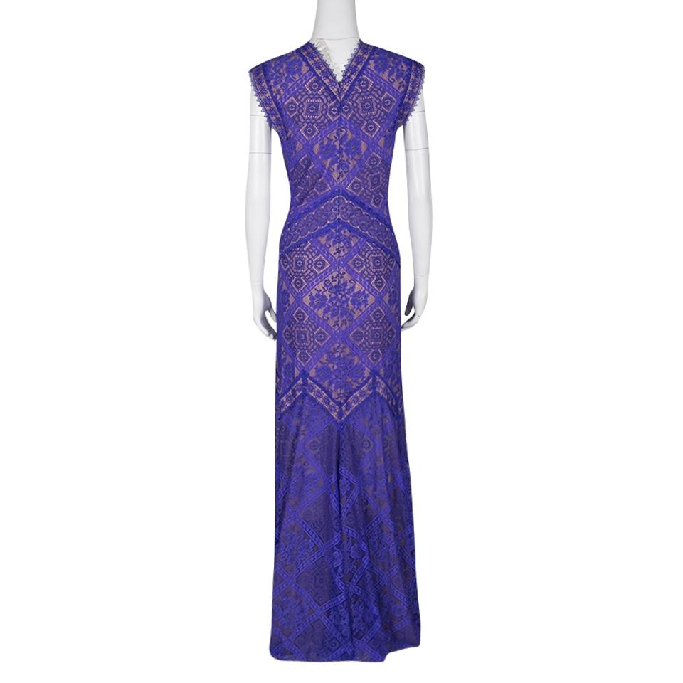 Tadashi Shoji Purple And Beige Floral Embroidered Lace Long Casual ...