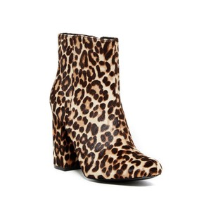 Charles David Leopard Calf Hair Leather Ankle Nude Brown Boots