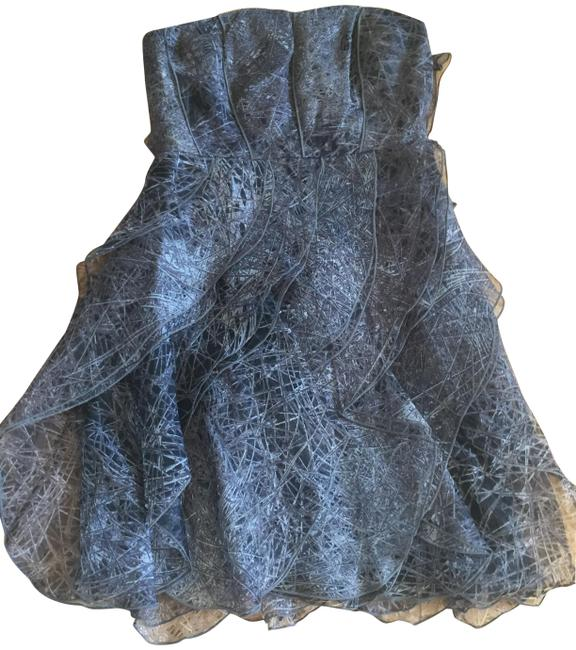 Item - Silver / Grey Pattern Strapless Ruffled Silk Short Cocktail Dress Size 2 (XS)
