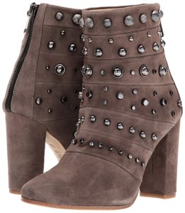 Badgley Mischka Tan Suede Leather Studded Ankle Taupe Boots