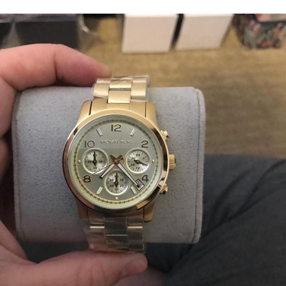 1169e8faa421 Michael Kors Gold New Runway Stainless Steel Chronograph Ladies Mk5055 Watch  - Tradesy