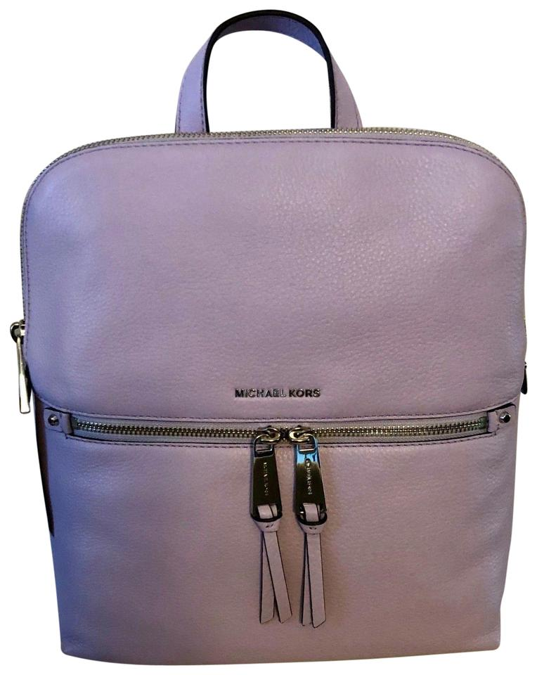 54a7dcc83e287 Michael Kors Rhea Medium Top Zip School Travel (New with Tags) Light Quartz  Purple   Silver Hardware Leather Backpack