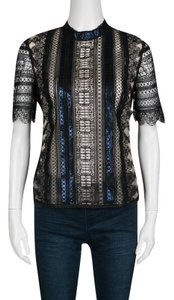 MARY KATRANTZOU Lace Metallic Polyester Top Black