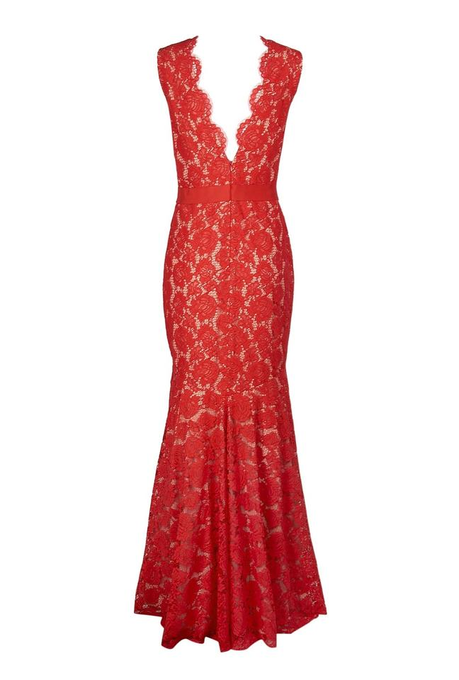 07d8ea67bc Theia Red Nude Lace Mermaid Evening Gown Illusion V-neck 883183 Long ...