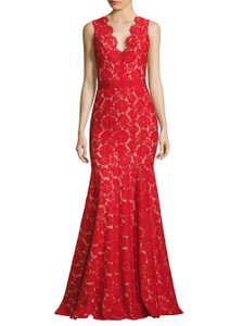 Theia Lace Illusion V-neck Evening Dress