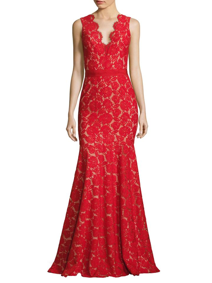 Theia Red Nude Lace Mermaid Evening Gown Illusion V-neck 883183 Long ...