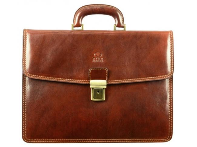 Item - Messenger The Sound Of The Mountain - Briefcase/Laptop/Messenger Brown Cowhide Leather Laptop Bag