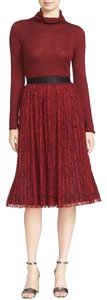 Alice + Olivia Lace Pleated Skirt Burgundy Red