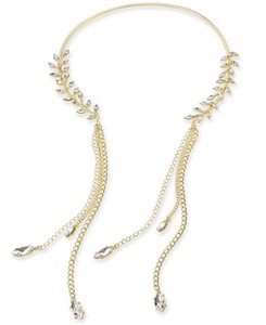 "Thalia Sodi Thalia Sodi Gold-Tone Crystal Leaf & Tassel 11"" Collar Necklace"