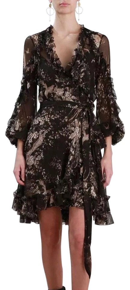 new Tag Cocktail Silk ZIMMERMANN Floral georgette print Ruffled Dress with UqxE78d6