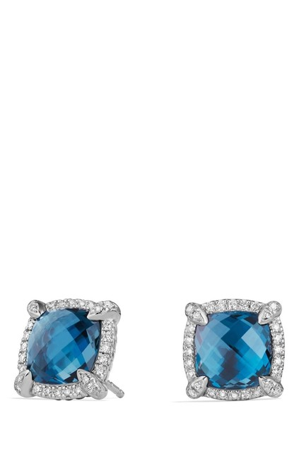 Item - Sterling Silver Faceted Hampton Blue Topaz and Pave Diamonds Châtelaine' Bezel Stud With Earrings