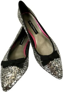 Beverly Feldman Sequin Pointed Toe Silver Flats