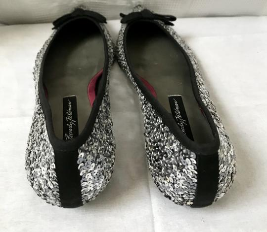 Beverly Feldman Sequin Pointed Toe Silver Flats Image 1