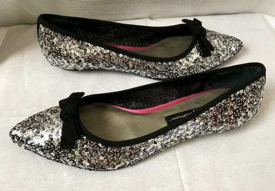 Beverly Feldman Sequin Pointed Toe Silver Flats Image 3