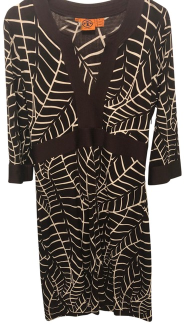 Item - Brown and White Silk Mid-length Work/Office Dress Size 8 (M)