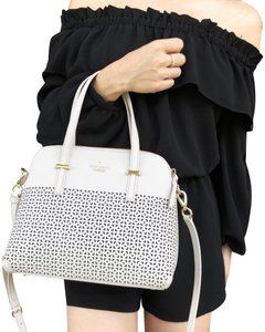 Kate Spade Maise Perforated Crossbody Satchel in White
