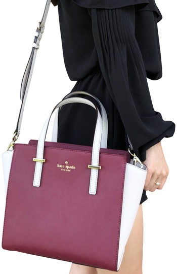 Preload https://img-static.tradesy.com/item/23795925/kate-spade-cedar-street-small-saffiano-crisp-linen-merlot-leather-satchel-0-1-540-540.jpg