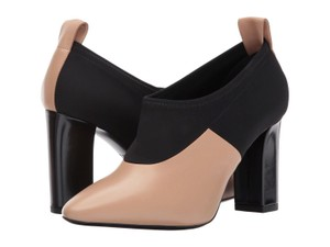 Via Spiga Black Leather Stretch Ankle Nude Boots