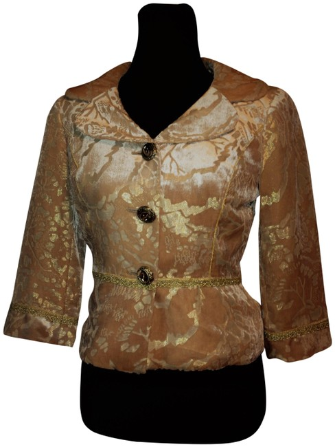 Item - Peach & Gold Silk Rayon with Metallic Floral Design Cropped Blazer Size 4 (S)