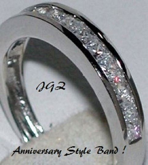 Solid .925 Silver Sterling Princess Cut Sz. 7 * New * Engagement Ring