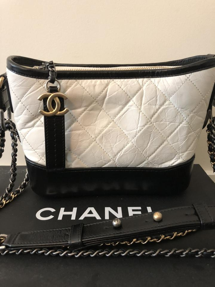 Chanel Gabrielle Small In Color Black and White Leather Hobo Bag - Tradesy 1fd028af9a