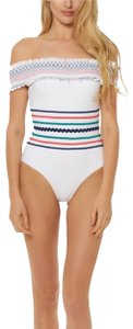 Red Carter In Stitches Off Shoulder One Piece
