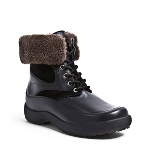Blondo Leather Fur Weather Proof Black Boots
