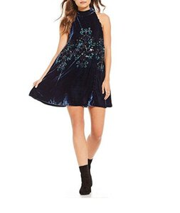 Free People short dress Blue Velvet Mini on Tradesy