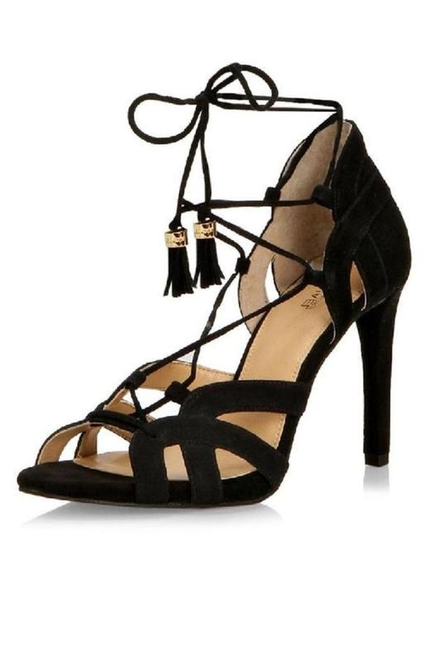 bfef6949f820ca Michael Kors Black Mirabel Suede Leather Strappy Ankle Strap Sandals ...