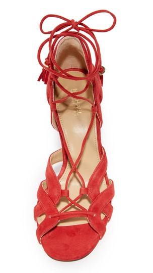 Michael Kors Suede Leather Strappy Ankle Strap Crimson Red Sandals Image 10