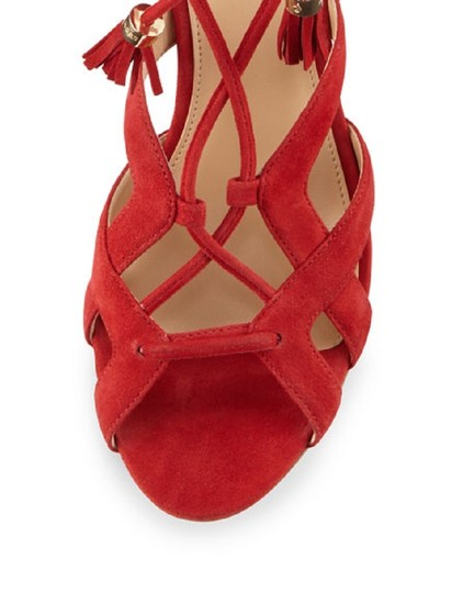 Michael Kors Suede Leather Strappy Ankle Strap Crimson Red Sandals Image 4