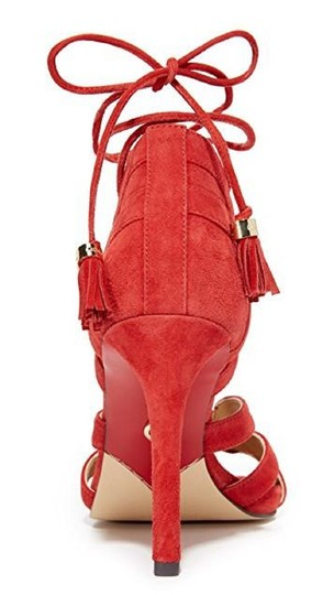 Michael Kors Suede Leather Strappy Ankle Strap Crimson Red Sandals Image 6