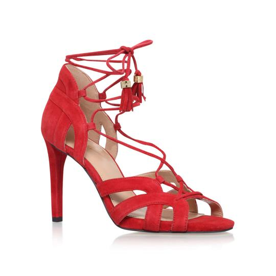 Michael Kors Suede Leather Strappy Ankle Strap Crimson Red Sandals Image 7