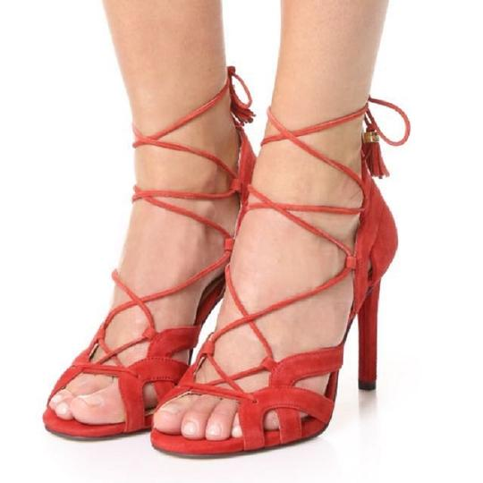 Michael Kors Suede Leather Strappy Ankle Strap Crimson Red Sandals Image 8