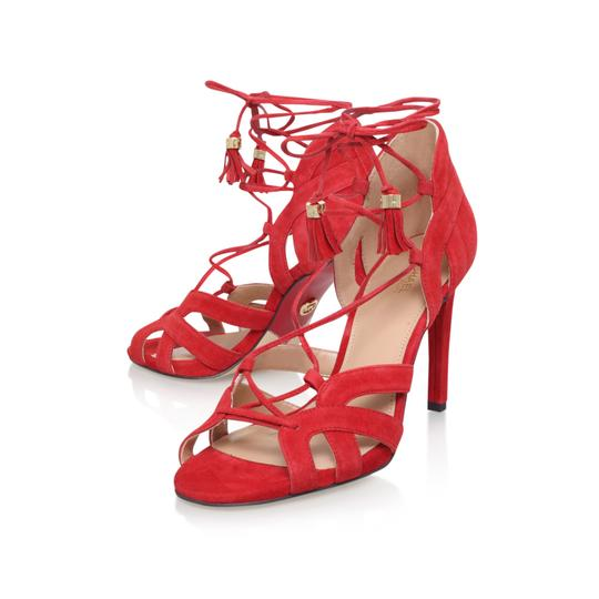 Michael Kors Suede Leather Strappy Ankle Strap Crimson Red Sandals Image 9