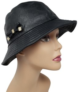 Gucci Black leather Gucci Guccissima print bucket hat S sz