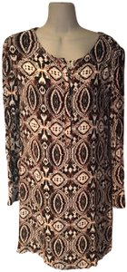brown, cream, rust Maxi Dress by Antik Batik Button Front Office Date Night