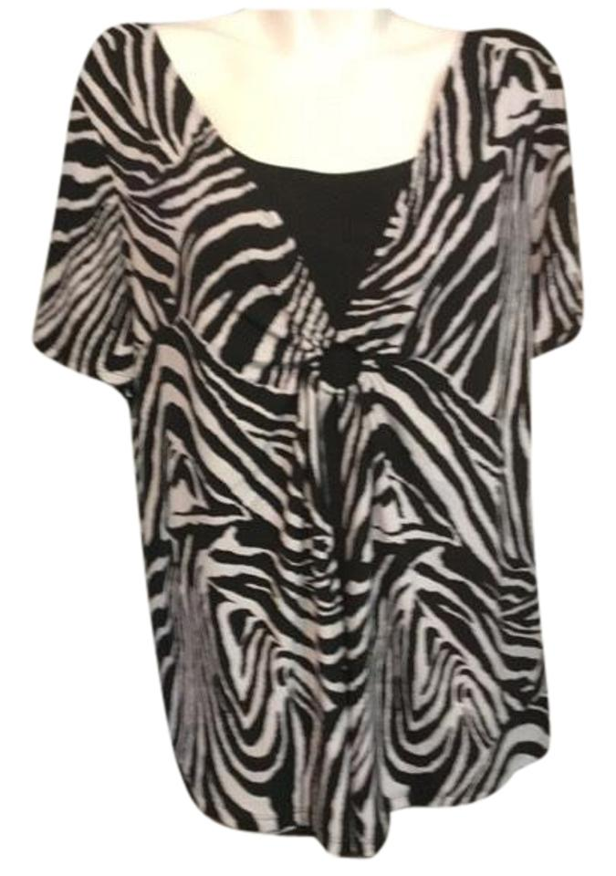 16ae17678c1a1 Notations Black and White Zebra All In Blouse Size 24 (Plus 2x ...