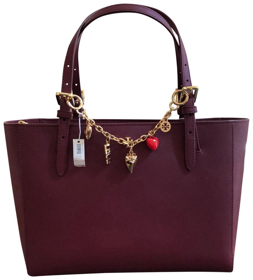 2542146339b8 Tory Burch 50767 Back To School Gift Leather Tote in Imperial Garnet Image  0 ...