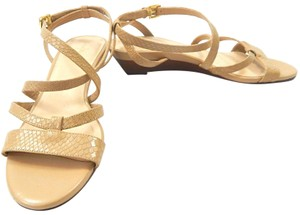Cole Haan Snakeskin Strappy Crisscross Strap nude Wedges