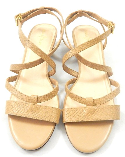Cole Haan Snakeskin Strappy Crisscross Strap nude Wedges Image 1
