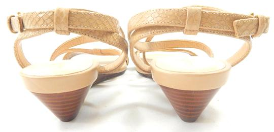 Cole Haan Snakeskin Strappy Crisscross Strap nude Wedges Image 2