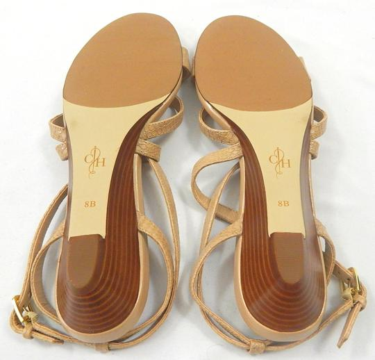 Cole Haan Snakeskin Strappy Crisscross Strap nude Wedges Image 3